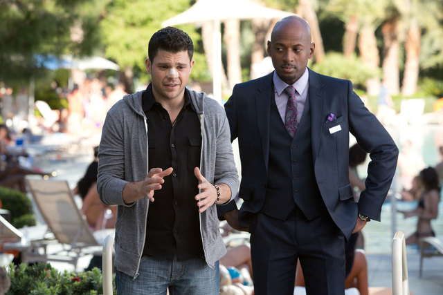 "Jerry Ferrara, left, and Romany Malco in a scene from ""Last Vegas."" (AP Photo/CBS Films, Chuck Zlotnick)"