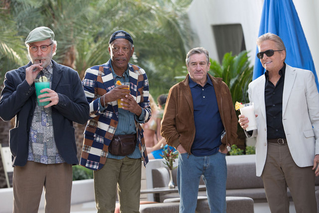 "Kevin Kline, left, Morgan Freeman, Robert De Niro and Michael Douglas star in ""Last Vegas."" (AP Photo/CBS Films, Chuck Zlotnick)"