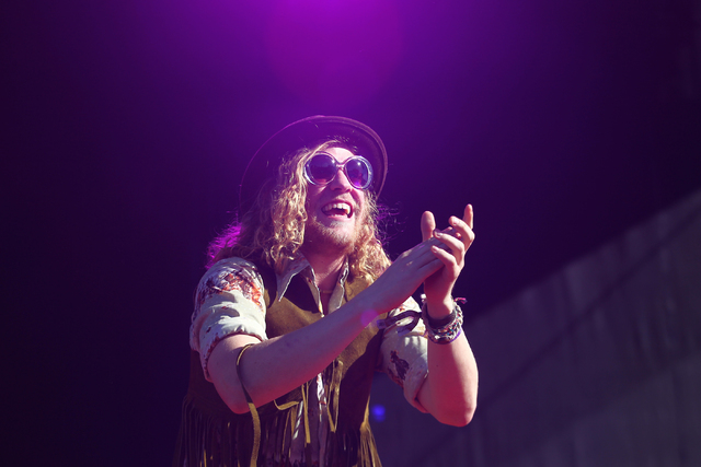 Allen Stone performs during the Life is Beautiful festival in downtown Las Vegas on Sunday, Oct. 27, 2013. (Chase Stevens/Las Vegas Review-Journal)