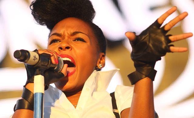 Janelle Monae performs during the Life is Beautiful festival in downtown Las Vegas on Sunday, Oct. 27, 2013. (Chase Stevens/Las Vegas Review-Journal)