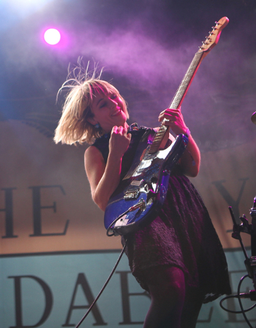Rhiannon Bryan of The Joy Formidable performs during the Life is Beautiful festival in downtown Las Vegas on Sunday, Oct. 27, 2013. (Chase Stevens/Las Vegas Review-Journal)
