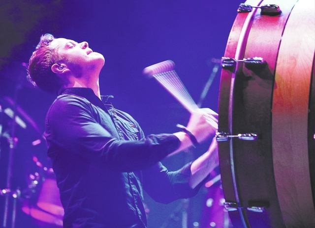 Dan Reynolds of Imagine Dragons performs during the Life is Beautiful festival in Las Vegas Saturday, Oct. 26, 2013. (John Locher/Las Vegas Review-Journal)