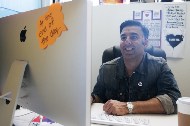 Rehan Choudhry, founder of Life is Beautiful Festival, is seen working at his office, Saturday, Sept. 21, 2013, in Las Vegas, Nev. The festival is scheduled to take place Oct. 26 and 27 in downtow ...