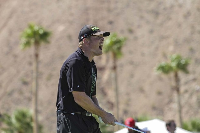 Long driver Will Hogue will be among eight finalists competing in the Super Bowl of driving a golf ball at Las Vegas Motor Speedway on Oct. 30. This is his reaction after teeing off in a prelimina ...