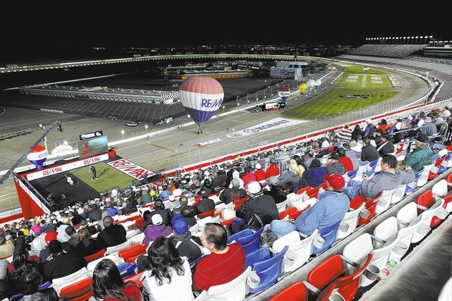 Fans watch as Will Hogue competes in the semifinals of the RE/MAX Long Drive World Championship at the Las Vegas Motor Speedway on Wednesday. (Chase Stevens/Las Vegas Review-Journal)