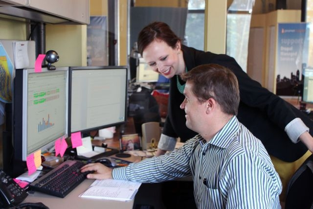 Maggie Graham, a comedienne outside of work, found a job as marketing manager at Chicago's Promet Source, where founder Andy Kucharski welcomed her skills and personality. (Courtesy Promet S ...