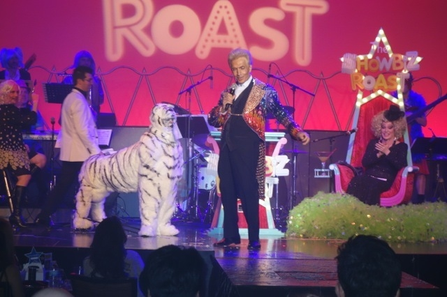 """A Montecore impersonator showed up with """"Siegfried"""" lookalike Anthony Rais for some timely biting commentary at the Frank Marino roast on Friday. (NORM CLARKE/LAS VEGAS REVIEW-JOURNA)"""