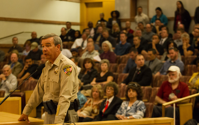 Clark County Sheriff Doug Gillespie addresses the Clark County Commission during a hearing Tuesday about proposals to raise the sales tax rate to pay for more police officers. (Chase Stevens/Las V ...
