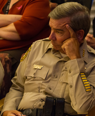 Clark County Sheriff Doug Gillespie listens to public comment during a hearing on the sales tax rate on Tuesday. (Chase Stevens/Las Vegas Review-Journal)
