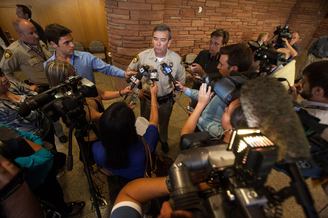 Clark County Sheriff Doug Gillespie addresses the media Tuesday after a lack of sufficient votes from the Clark County Commission to raise the sales tax to pay for more police officers. (Chase Ste ...