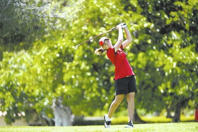 UNLV golfer Dana Finkelstein, shown during last season's Mountain West tournament on April 27, ranks 25th in the country with a 70.35 stroke average and has cut her career-best round from 70 to  ...