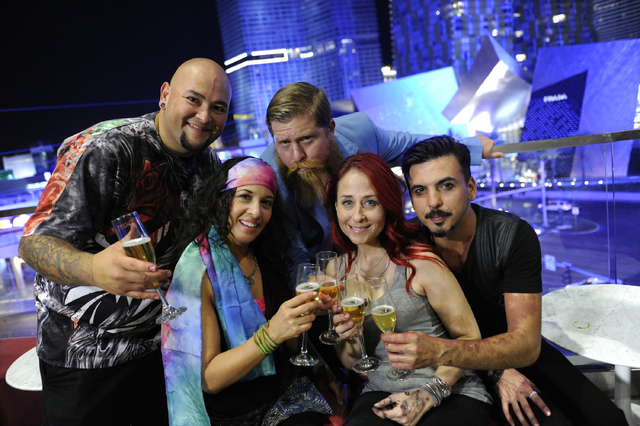 """Naked Vegas"" stars, from left, Wiser Oner, Heather Aguilera, Drew Maverick, Kelly ""Red"" Belmonte and Nicholas ""Nix"" Herrera. (David Becker/Syfy)"