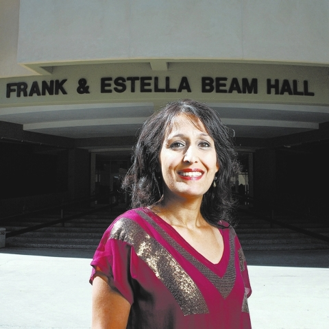 Dr. Anjala Krishen is seen in front of the Lee Business School at UNLV in Las Vegas Tuesday, Oct. 1, 2013. (Jessica Ebelhar/Las Vegas Review-Journal)
