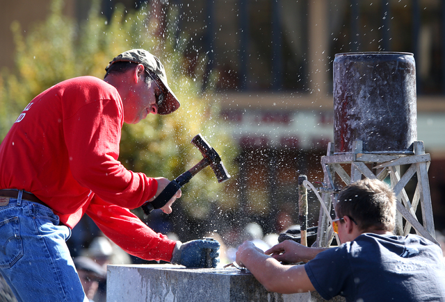 James Eason, of Tonopah, competes in the 39th Annual World Championship Contest of Single-Jack Hard Rock Drilling in Carson City, Nev., on Saturday, Oct. 26, 2013. The event is part of the Nevada  ...