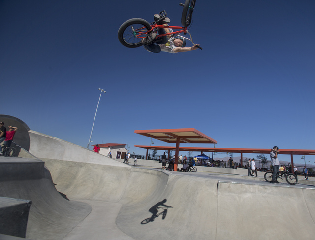 Mark Rubio catches air in the 65,000-square-foot skateboard complex at  North Las Vegas Craig Ranch Regional Park, Friday, Oct. 25, 2013. The $130 million 170-acre park open today. It will cost  c ...