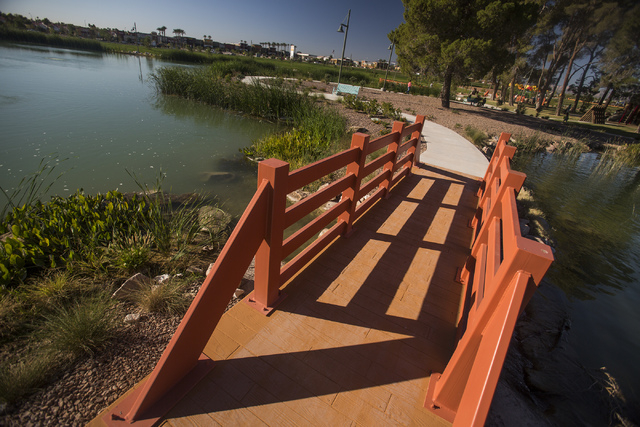 A pond  as seen Friday, Oct. 25, 2013 at North Las Vegas Craig Ranch Regional Park. The $130 million 170-acre park open today. It will cost  cash strapped North Las Vegas $2 million a year to main ...