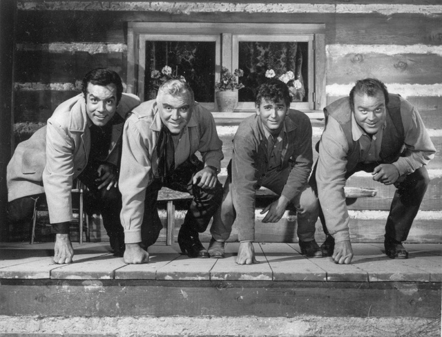 """This 1962 picture provided by NBC shows actors from the """"Bonanza"""" television show from left, Pernell Roberts, Lorne Greene, Michael Landon and Dan Blocker.  (AP Photo/NBC)"""