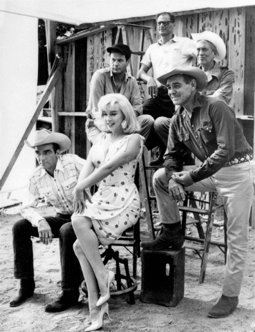 """In this undated file photo, the cast and principals of """"The Misfits"""", Front row, left to right:  Montgomery Clift, Marilyn Monroe, Clark Gable.  Back row, left to right:  Eli Wallach, playwright A ..."""