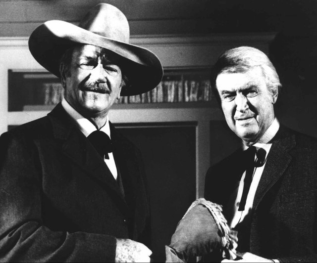"""James Stewart, right, the lanky, slow-talking actor who embodied the American values of decency and moral courage in films such as ``Mr. Smith Goes to Washington'' and ``It's a Wonderful Life,""""  p ..."""