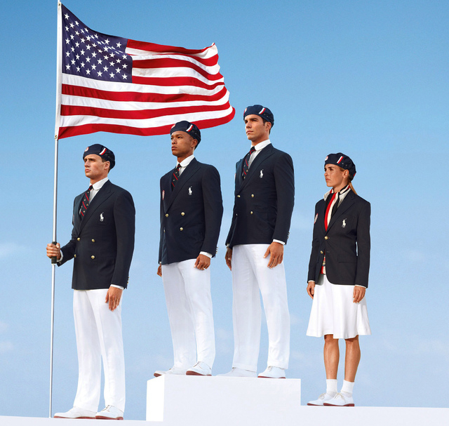 An outcry over the Chinese-made uniforms worn by Olympic athletes in the 2012 London Games resulted in an effort to produce uniforms in the United States. This product image released by Ralph Laur ...