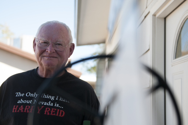 Bob Hitchcock, poses for a photograph at his home in Las Vegas, Nev., Saturday, Oct. 5, 2013. Hitchcock was ordered to leave the house he owns at Stewart's Point in Lake Mead National Recreation A ...