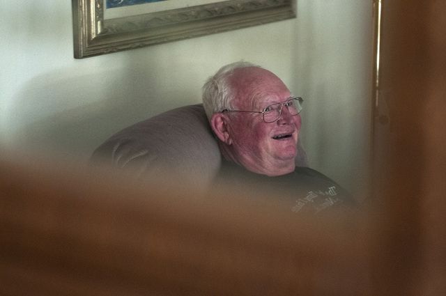 Bob Hitchcock, is seen at his home during an interview about being ordered to leave his other house at Stewart's Point in Lake Mead National Recreation Area due to the government shutdown, Saturda ...