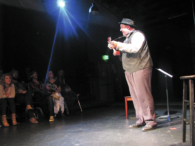 """Adam Kozlowski plays Tin Pan Alley songs during a performance titled """"Me, My Uke & Some Friends"""" on Sept. 29 at Art Square Theater, 1025 S. First St. (F. Andrew Taylor/View)"""
