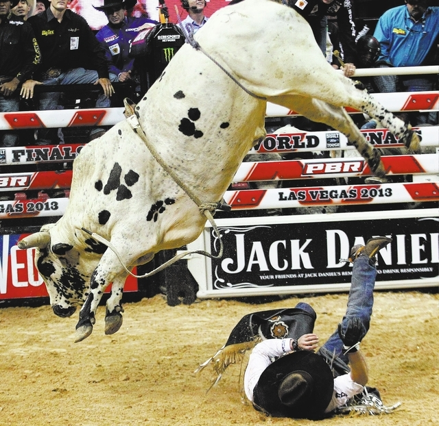 Pecos Bill leaps over a fallen Emilio Resende of Santa Helena de Goias, Brazil, during the opening round of the Professional Bull Riders World Finals at the Thomas & Mack Center on Wednesday night ...