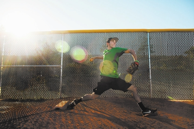 Palo Verde High School's Michael Spada practices pitching at the school Wednesday, Oct. 30, 2013. Spada, a senior, has made an oral commitment to play baseball for Holy Cross. (Samantha Clemens/ ...