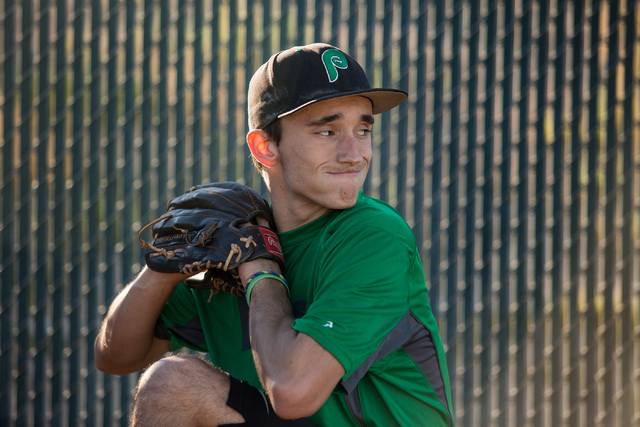 Palo Verde senior Michael Spada practices pitching at the school Wednesday. Last weekend, Spada made an oral commitment to play baseball at Holy Cross in Worcester, Mass., 3½ years after being di ...