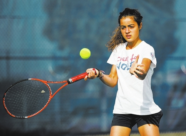 Coronado High School senior Roberta Padalino, (cq) a foreign exchange student from Italy, practices Wednesday, Oct. 23, 2013. The Cougars face Bishop Gorman in Division I-A boys and girls state te ...