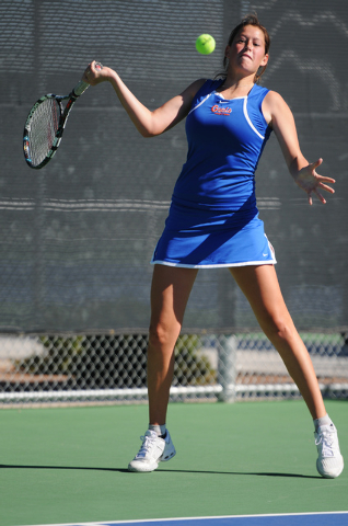 Bishop Gorman's Chelsea Crovetti, hits the ball back to her opponent Annie Walker from Palo Verde during the tennis singles Sunset Region Championships at Bishop Gorman High School in Las Vegas, N ...