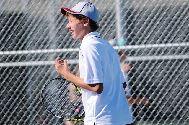 Desert Oasis's Ben Gajardo reacts to a plat during his match against Dylan Leavitt from Bishop Gorman during the tennis singles Sunset Region Championships at Bishop Gorman High School in Las Vega ...