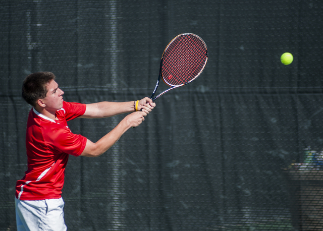 Tech's Christian Valle hits a backhand. (Martin S. Fuentes/Las Vegas Review-Journal)