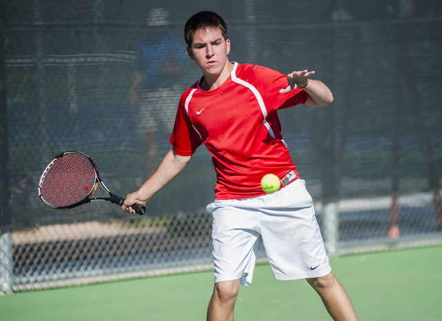 Tech's Christian Valle prepares for a forehand. (Martin S. Fuentes/Las Vegas Review-Journal)
