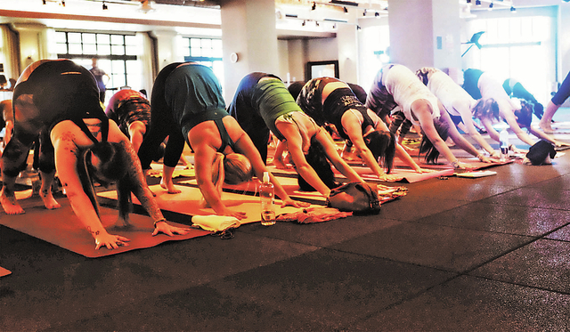 More than 150 people participated in 108 repetitions of the sun salutation yoga position on Sept. 28 at the DavidBartonGym in Suite 200 at Tivoli Village, 410 S. Rampart Blvd. The event was a fund ...