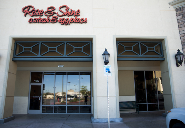 The exterior of Rise & Shine, a Steak and Egg Place, located at 10690 Southern Highlands Parkway 89141, in Las Vegas, Friday, September 27, 2013. (Martin S. Fuentes/Las Vegas Review Journal)