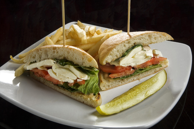 The Caprese Sandwich  is displayed at Elixir restaurant located at 2920 Green Valley Parkway in Henderson on Wednesday, Oct. 16,2013. Its ingredients consist of sliced heirloom tomatoes, fresh buf ...
