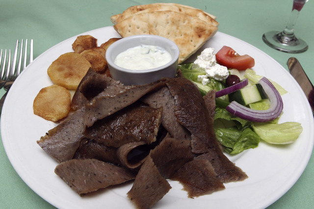 The gyro plate is seen at Plaka Greek Restaurant in Las Vegas. The plate consists of gyro meat, roasted potatoes, Greek salad and pita bread. (Jerry Henkel/Las Vegas Review-Journal)