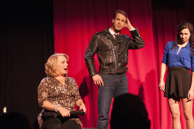"Suzanne Sole, left, Patrick Whalen and Kira McCarthy perform in ""Spank! The Fifty Shades Parody"" at the Golden Nugget. (Erik Verduzco/Las Vegas Review-Journal)"