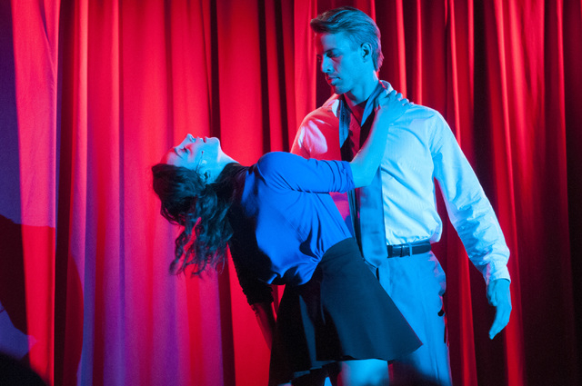 "Kira McCarthy, left, and Patrick Whalen, as Tasha Woode and  Hugh Hanson, perform in ""Spank! The Fifty Shades Parody"" at the Golden Nugget. (Erik Verduzco/Las Vegas Review-Journal)"