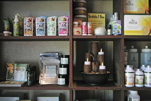 A variety of natural products are for sale in the front room at Therapie Tuesday, July 30, 13, in Las Vegas. Therapie, which is located at 6819 W. Tropicana Ave. #200, offers unique massage techni ...