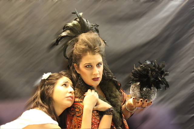 """Marisa Johnson as Monica and Stephanie Sadownik as Madame Flora in Sin City Opera's production of """"The Medium."""""""