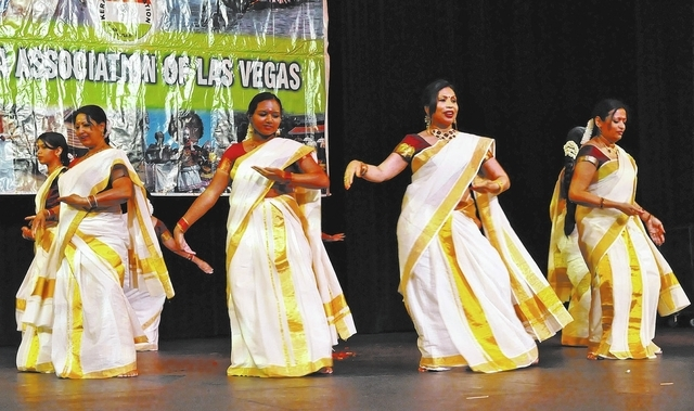 Members of the nonprofit Kerala Association of Las Vegas perform a traditional dance called the thiruvathira on Sept. 15 at the Clark County Library, 1401 E. Flamingo Road, during the group's On ...