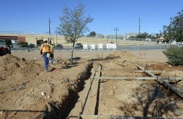 Workers put in rebar in preparation for pouring concrete footings at the site of bathroom facilities at Bill Briare Family Park, 650 N. Tenaya Way, Sept. 26. The Bonanza Trail will soon connect to ...