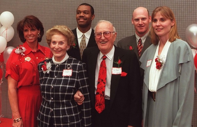 Sports 1 31 97 UNLV Athletic Hall of Fame inductees l to r Sheila Tarr Christina Hixson Randall Cunningham Si Redd for late wife Marilyn Redd Matt Williams and Misty Thomas Photo by Clint Karlsen