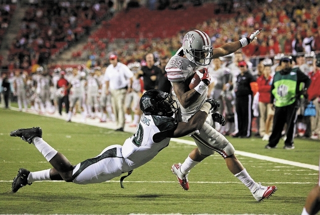 UNLV running back Tim Cornett runs into the end zone for a touchdown during a game against Hawaii at Sam Boyd Stadium in Las Vegas Saturday, Oct. 12, 2013. (John Locher/Las Vegas Review-Journal)