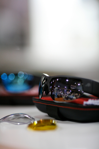 Pivot Head glasses which are capable of recording high definition 1080p video as well as 8 megapixel stills are seen at the Vision Expo West, in the Sands Expo Center of Las Vegas, Nev. on Oct. 4, ...