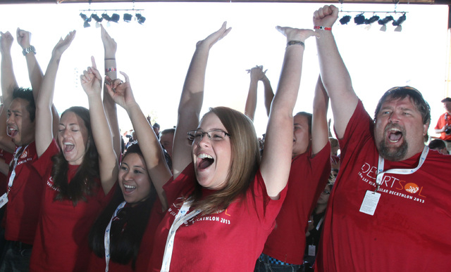 Students from UNLV celebrate after learning their team placed second in the U.S. Department of Energy Solar Decathlon 2013 at the Orange County Great Park in Irvine, Calif (Courtesy Stefano Palter ...