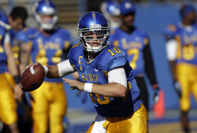 San Jose State quarterback David Fales during a game against Wyoming on Oct. 26. (AP Photo/Marcio Jose Sanchez)